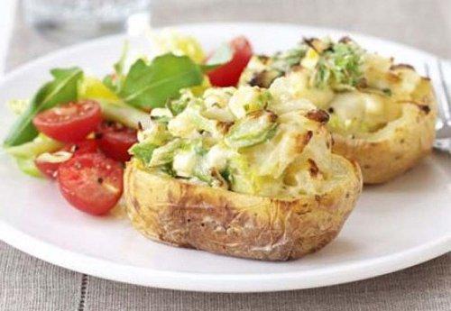 Patatas rellenas de puerro